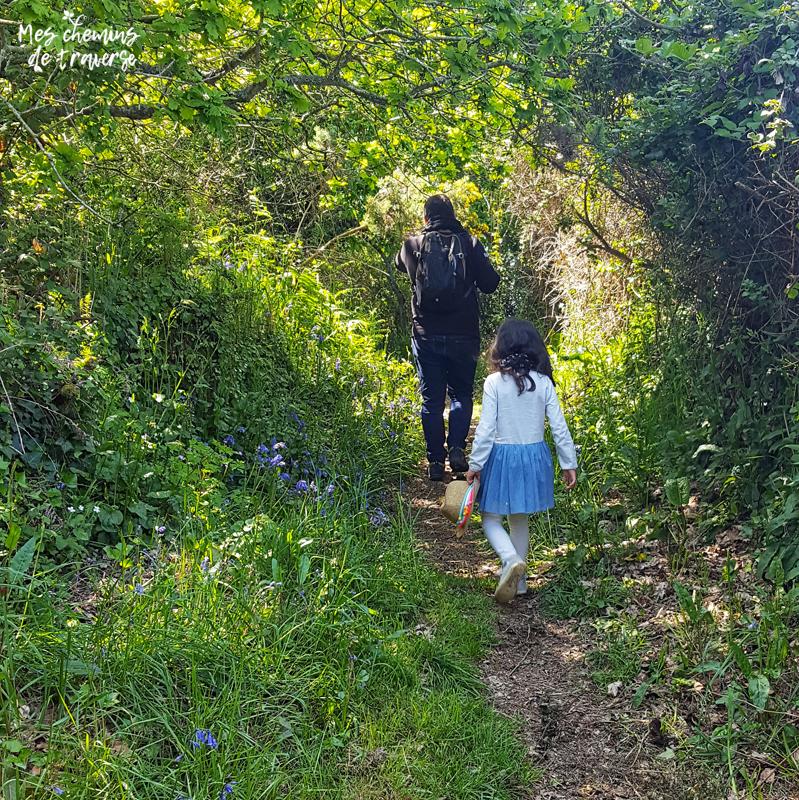 chemin creux fleuri au printemps à Beg Leguer