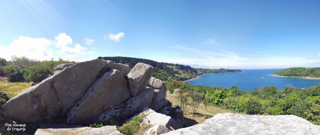 panorama sur la baie de lannion depuis le yaudet, bretagne