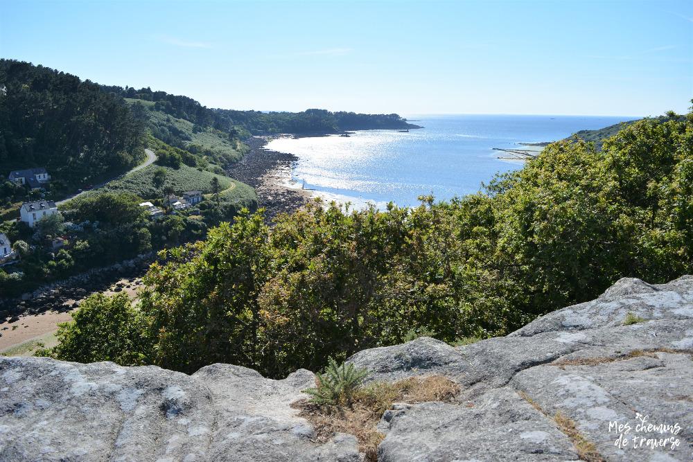 Panorama sur Baie de Lannion depuis les rochers Beaumanoir au Yaudet, Bretagne, Trégor