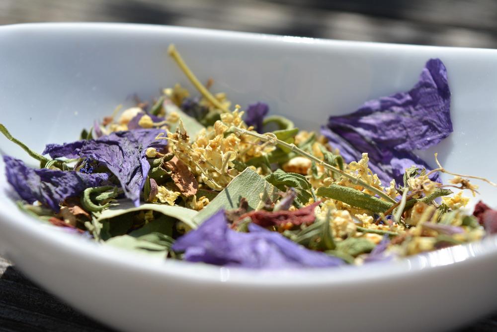 mélange d'herbes vagabondes pour tisane